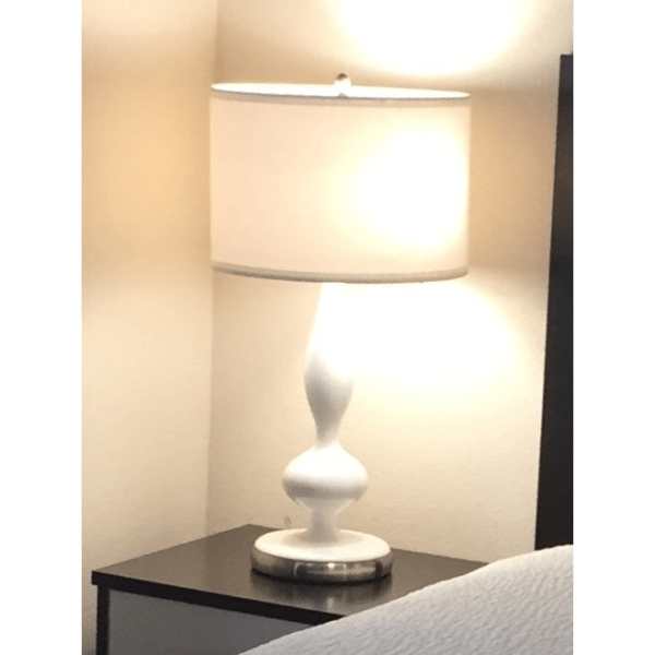 White Resin Table Lamp