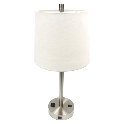 Single Brushed Nickel Nightstand Lamp